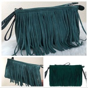 B. Makowsky Double Zip Crossbody with Fringe